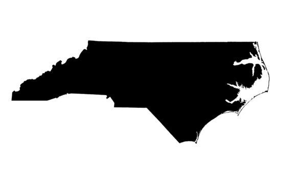map of North Carolina, USA