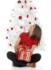 Happy woman with Chirstmas gifts