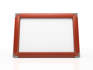 Red photo frame isolated on white. Your image can be here!