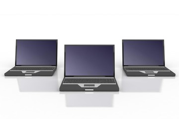 three black laptops