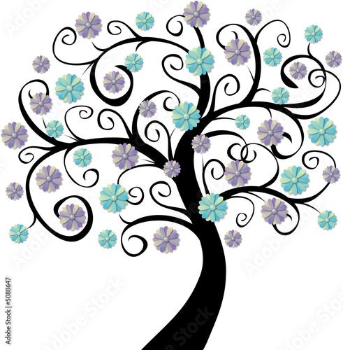 arbre en fleurs bleues photo libre de droits sur la banque d 39 images image 5088647. Black Bedroom Furniture Sets. Home Design Ideas