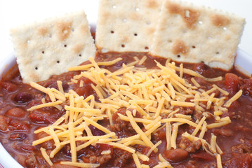 Chili with Beans, Cheese, and Crackers