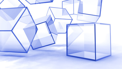 Abstract glass blue cubes