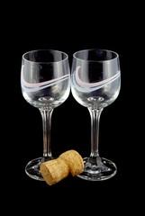 Wineglasses, black background