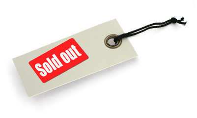 Tag with Sold out inscription