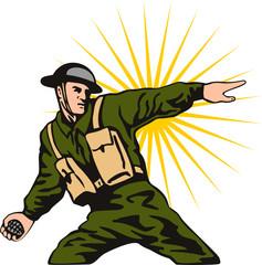 Keuken foto achterwand Militair World war two solider throwing a grenade