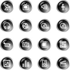 black drop media icons