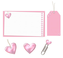 pink set with hearts