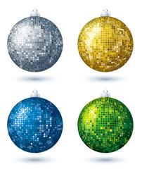 four christmas disco  ball over white background, vector