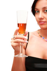 Woman with a glass of liquor.