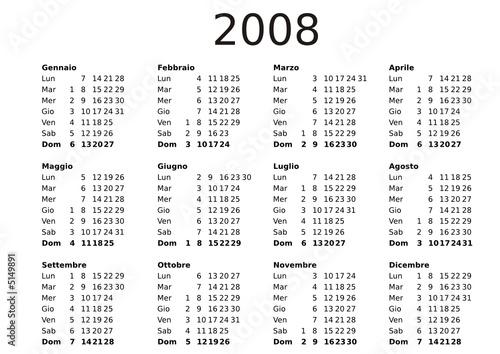 2008 Calendar Template Italian