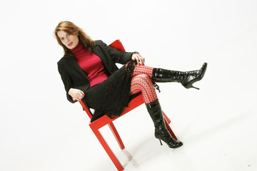 white, red and black