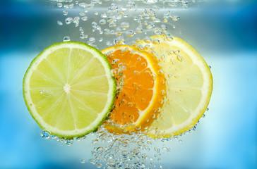 Aluminium Prints Slices of fruit Citrus slice in water