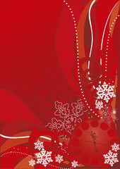 christmas background with clock and snowflakes - vector