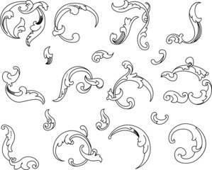 Baroque Clipart. Calligraphy Style. All Curves Separately.