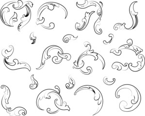 Baroque Clipart. All Curves Separately.