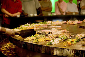 Busy mongolian grill