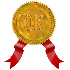 Gold seal with red ribbon ok wording