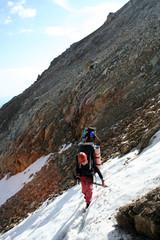on a climbing path