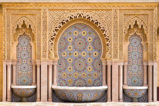 Typical moroccan tiled fountain in the city of Rabat, near the H