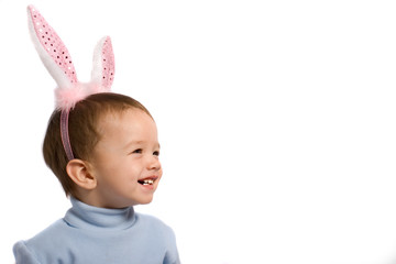 Little kid in rabbit's horn