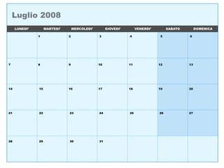 Calendario vettoriale luglio 2008