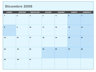 Calendario vettoriale dicembre 2008