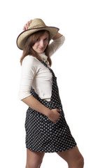 cowgirl in a hat isolated on white