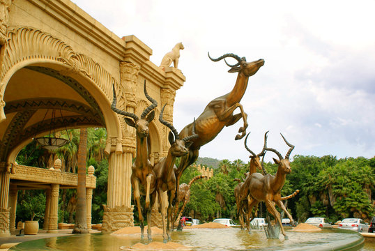 Fountain - entrance to Lost City Hotel at Sun City, South Africa