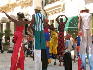 A view of carnival parade in the streets of Havana