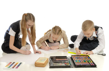 Children engaged in drawing 3