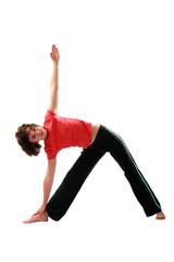 Yoga. Trikonasana.The triangle pose.