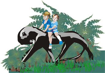 two children on panther