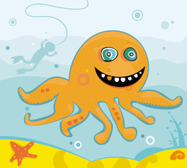 cute friendly octopus illustration