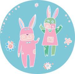 Honey-Bunny.  Easter rabbits illustration