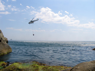 helicopter above the sea