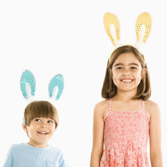 Children in rabbit ears.