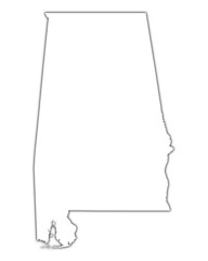 outline Alabama map with shadow