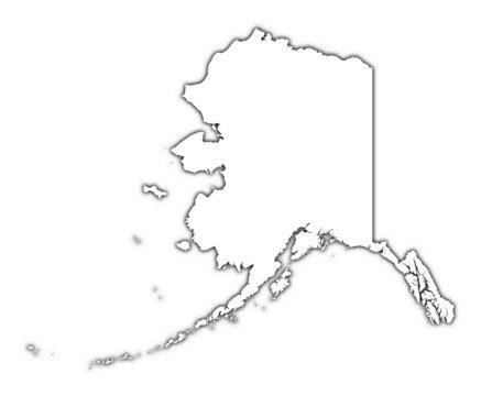 outline Alaska map with shadow