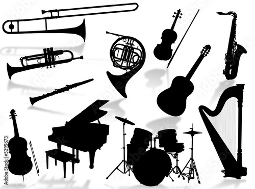 Strumenti musicali in silhouette immagini e fotografie for Scarica clipart