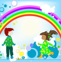 Poster Regenboog Kids and rainbow