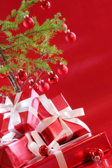 Rich red colorful presents and Christmas decorations