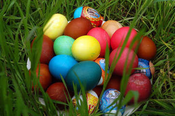 Multi-coloured easter eggs