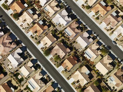 Suburban houses aerial.
