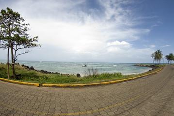 caribbean tile stone road empty beach