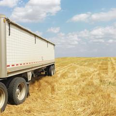 Tractor trailer truck in field.