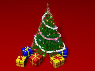 sapin de noël et cadeaux sur fond rouge