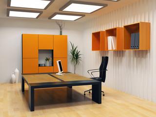 modern interior design of cabinet boss room(3D render)