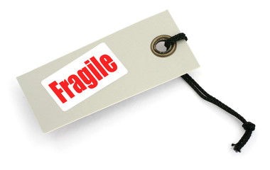 fragile tag against white background