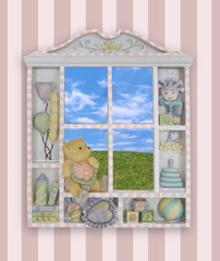 A childs window frame with the grass and sky